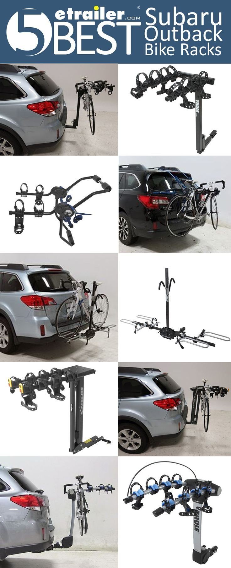 5 BEST Subaru Outback Wagon Bike Racks! Hitch and Hatch Bike Racks for your Outback. Racks for 2 to 4 bikes, swinging, tilting and platform racks.