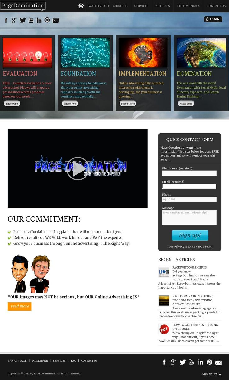 The website 'pagedomination.com' courtesy of @Pinstamatic (http://pinstamatic.com)