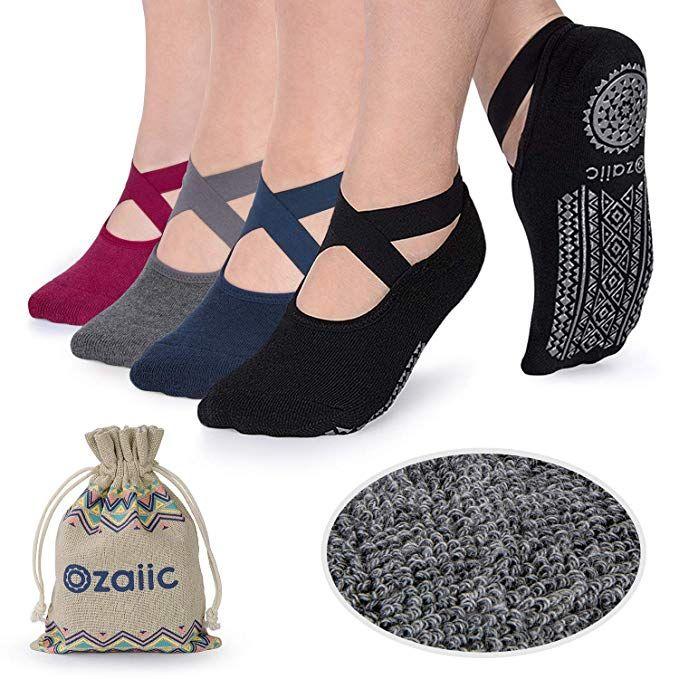 Yoga Socks for Women Non Slip Skid Socks with Grips for Sports Pilates Pure Barre Ballet Dance Barefoot Workout