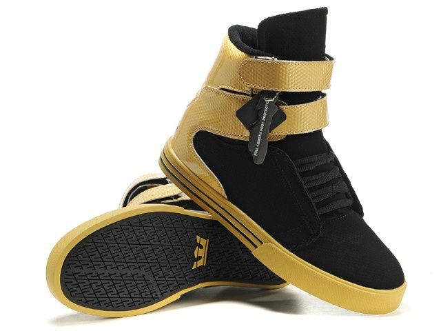 Supra TK Society Shoes Gold/Black-Gold Perf Leather [pra820410 ...