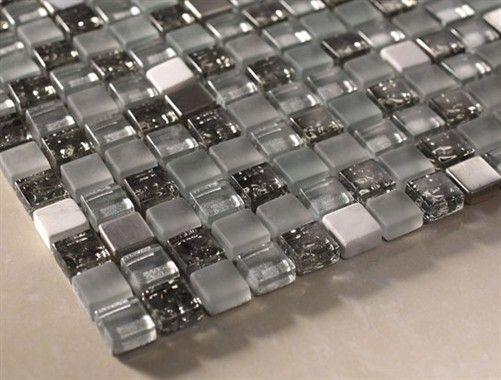 "Buy Quantum Midnight Glitter 5/8"" x 5/8"" Mosaic Glass Tiles Meshed on 12 x 12 Sheet, Bathroom Walls, Kitchen Backsplash, Shower Walls, Livin..."