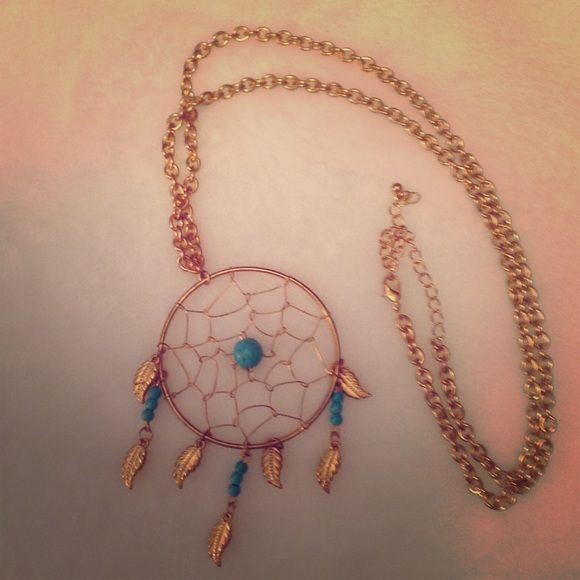 Dream catcher necklace Long chained gold dream catcher necklace with turquoise accents American Eagle Outfitters Jewelry Necklaces