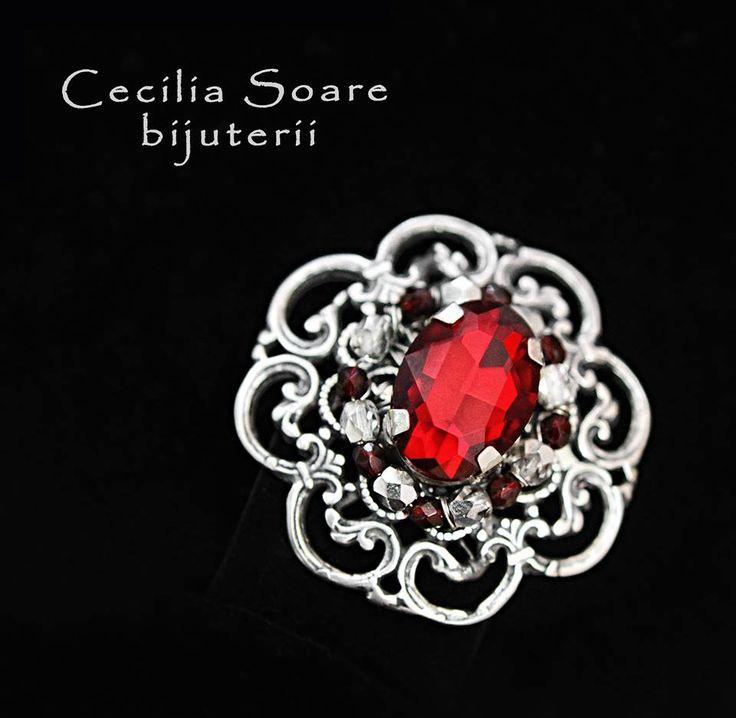 handmade crystal brooch