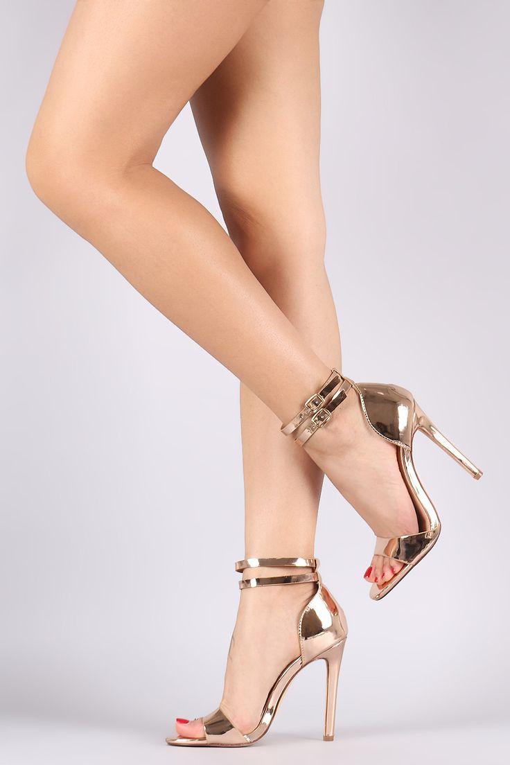Liliana Mirror Metallic Double Ankle Strap Stiletto Heel