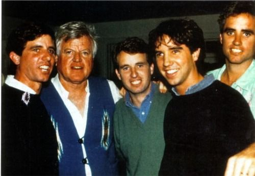 Ted Kennedy (second from left) with his nephews (Bobby's sons) Michael Kennedy, Chris Kennedy, Douglas Kennedy and Max Kennedy