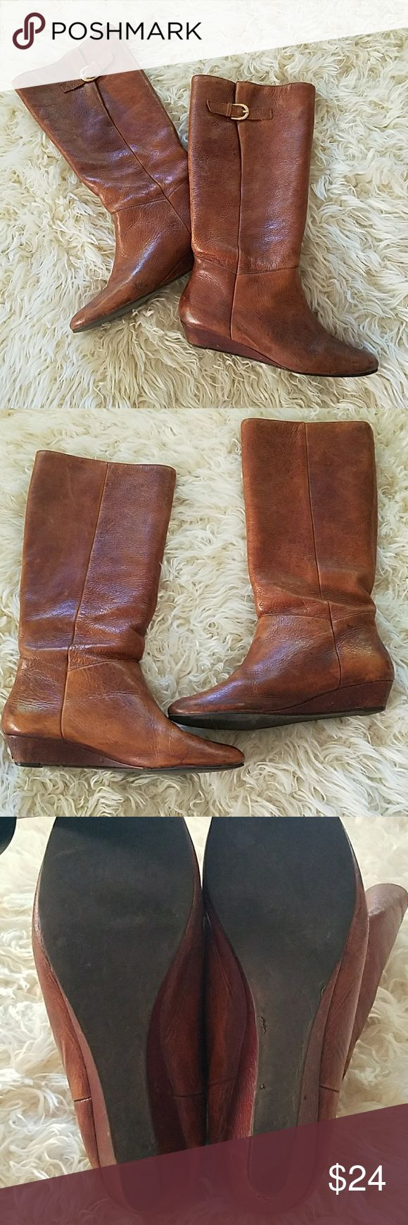 Steve Madden Intyce boots, sz 10 Well loved cognac low wedge riding boot, the ever popular Intyce style by Steve Madden, size 10. Steve Madden Shoes Heeled Boots