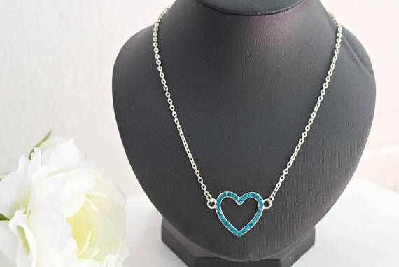 Teal Heart Necklace  Rhinestone Necklace  Crystal Jewelry