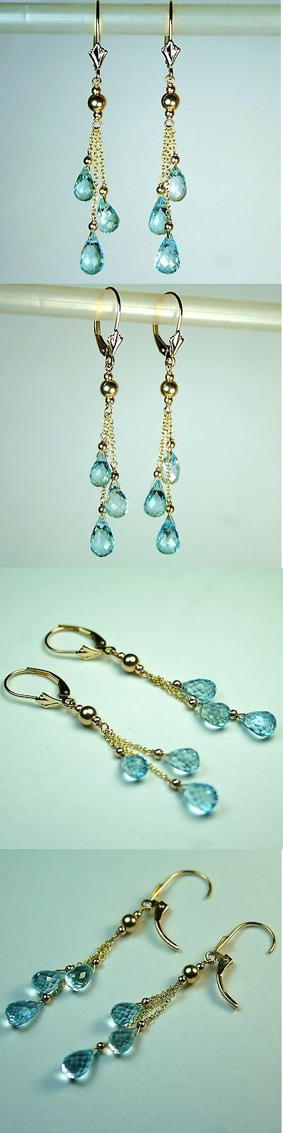 Gemstone 164321: 14K Solid Yellow Gold 7X5mm Briolette Natural Blue Topaz Earrings Leverback BUY IT NOW ONLY: $83.0