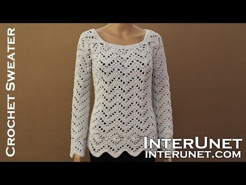 Long sleeve sweater crochet pattern. Learn how to crochet lace pullover. - YouTube  THE YOKE is crocheted 1st and would make a great bodice for a T!!!  TAKE A LOOK!!!