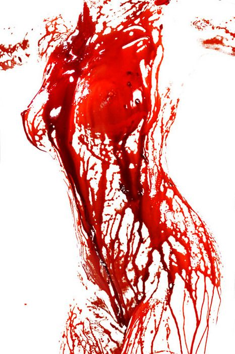 """what about a take on this, with blood spattered on a nerdy & a """"betty boop"""" type silhouette?"""