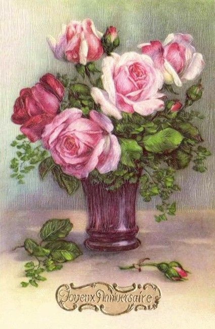 Vase of roses.