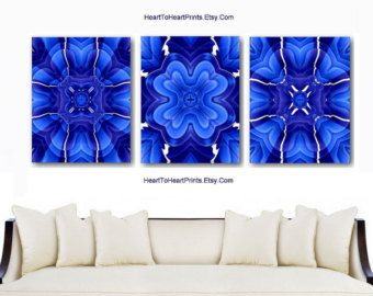 Royal Blue Wall Art Cobalt Blue Floral Abstract Wall Decor Navy Blue Home  Decor Flowers Art