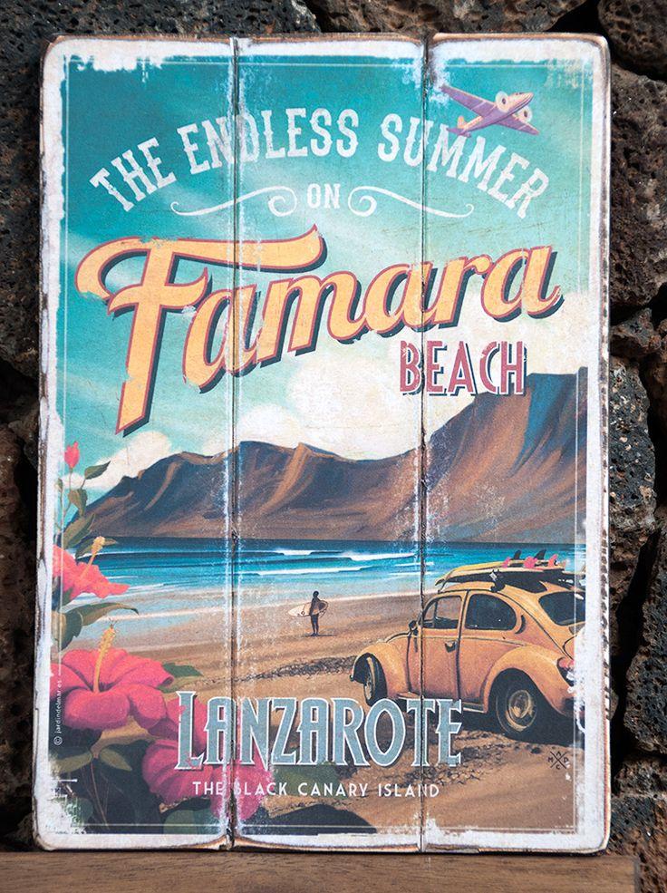 Handmade painting of vintage signs. Famara Beach - Lanzarote Jardín del Mar - Artesanos Lanzarote #drawing #painting #vintage #wooden #signs #artesania #lanzarote #famara #canaryislands