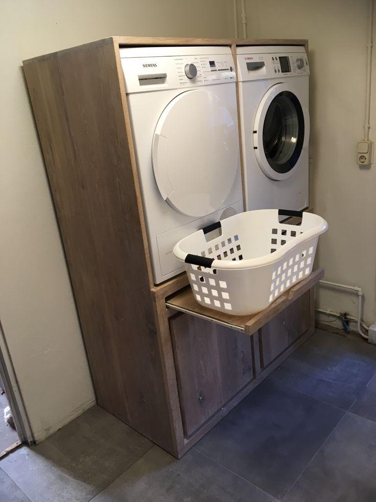 Wasmachine kast massief eiken. www.kaldenbach-meubels.nl