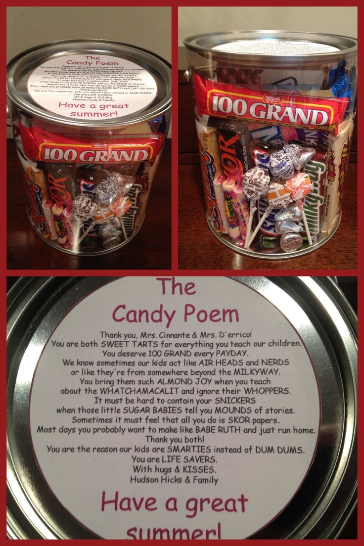 End of year teacher gift.  I found this candy poem and thought it was a perfect little gift to do for my sons preschool teachers.  I taped the poem to fit the top of the plastic paint jar which held all of the candy perfectly.