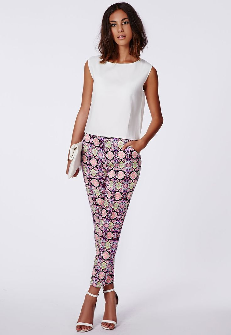 Alannah Jacquard Cigarette Trousers - Trousers - Missguided