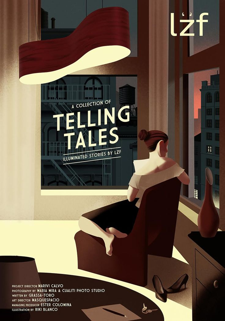 A collection of TELLING TALES, illuminated stories by LZF Lamps — Poster Illustration by Riki Blanco. New campaign for 2016!