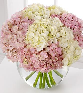 Spring Flowers - FTD Hydrangea Bouquet - PREMIUM - Luxuriant pink and white hydrangea blooms crown a clear glass bubble bowl in this lush, overflowing bouquet. A spectacular arrangement!