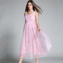 Женщины Лето Макси Dress Zomer Jurken 2017 Летние Сарафаны Рукавов Розовый Long Beach Dress Одеяние Longue Femme Рокабилли 72588(China (Mainland))