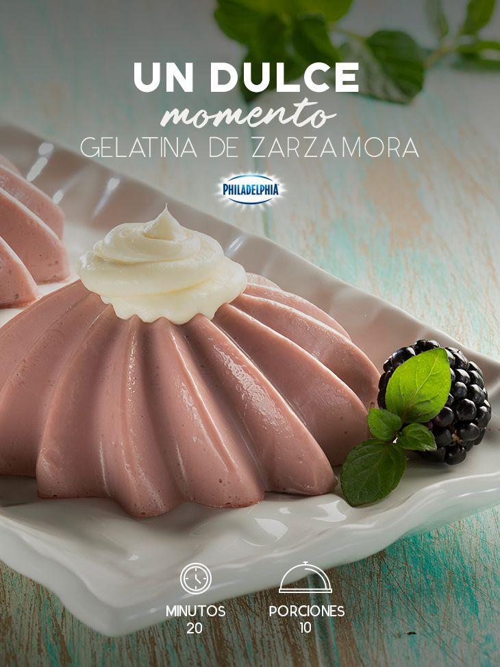 Descubre cómo preparar esta Gelatina de Zarzamora y disfrútala en el desayuno. #recetas #receta #quesophiladelphia #philadelphia #crema #quesocrema #queso #gelatina #zarzamora #postre #dukce #postres #zarzamoras #moras #familia