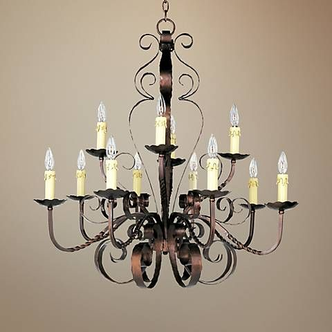 """Aspen Collection 36"""" Wide Two-Tiered Wrought Iron Chandelier"""