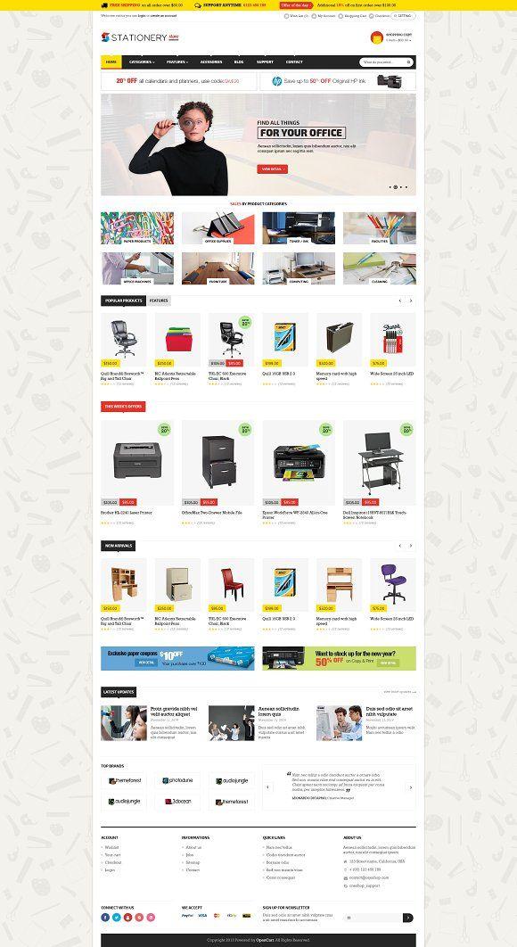 Stationery Multistore Template Website Template Design Logo Design Branding Simple Ecommerce Website Design