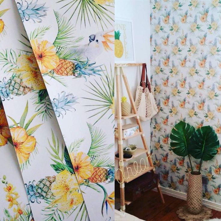 Tropical print wallpaper by BC Magic Wallpaper