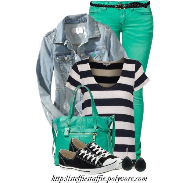 Green, Bold stripes & Chucks, created by steffiestaffie on Polyvore