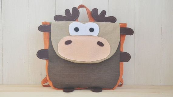 """Backpack """"Rudolph"""" (Beautiful colors for this reindeer shape backpack, 100% cotton, adjustable straps, easy velcro closure and lining)"""