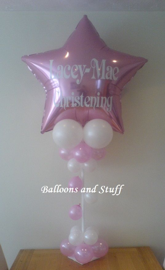 """36"""" Foil Personalised 'Christening' Balloon Table Display Decoration"""