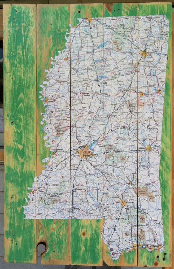 Decoupaged Mississippi Map Upcycled Pallet Art Mississippi