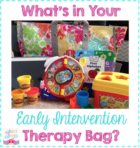 Simply Speech: What's In Your Early Intervention Therapy Bag? Pinned by SOS Inc. Resources. Follow all our boards at pinterest.com/sostherapy/ for therapy resources.