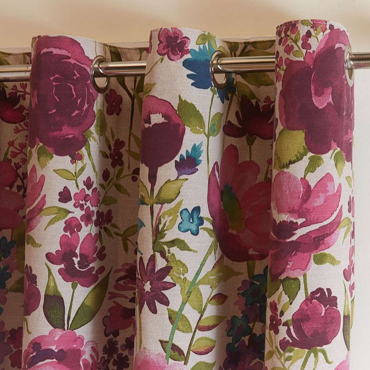 Misty Meadow Collection Lined Eyelet Curtains | Dunelm