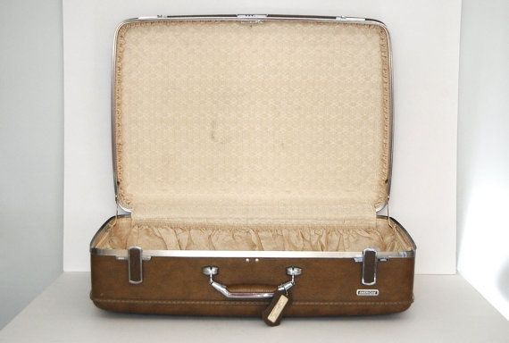 Vintage Brown Extra Large Suitcase American Escort.  Mom and Dad gave this set to me Christmas 1973 for the Senior Trip...Still have them!