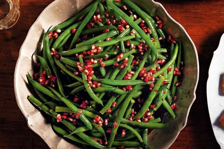 Green beans with pomegranate makes a simple, stunning Christmas side dish.