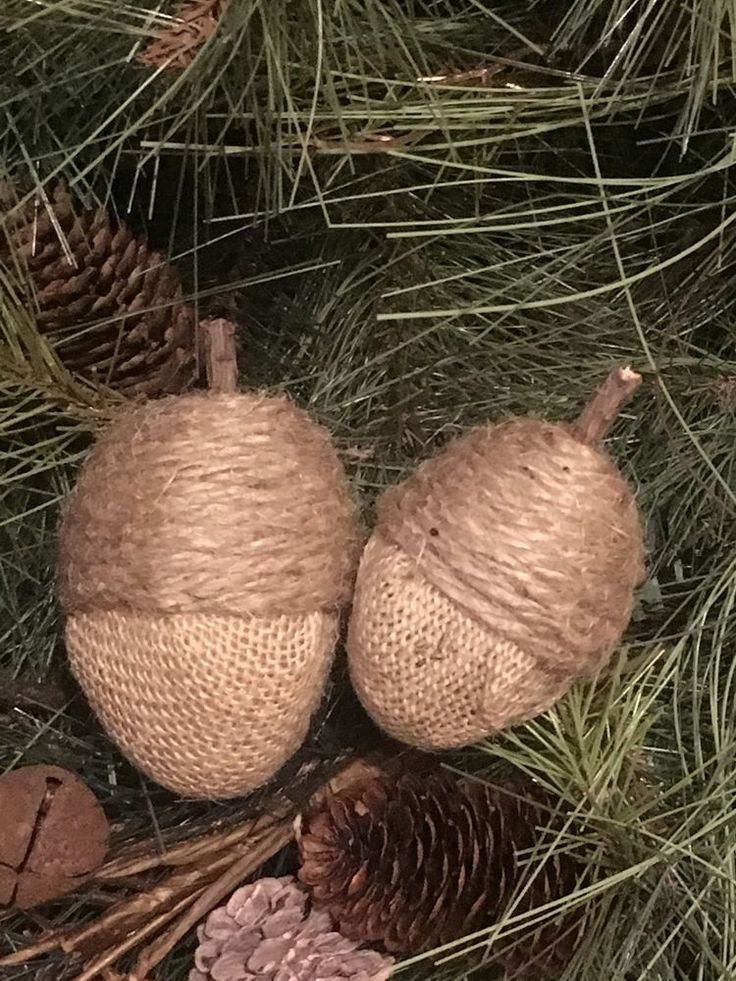 Primitive Handmade Fall Jute Burlap Acorns Natural Bowl Filler Rustic Twig Set 2 | eBay