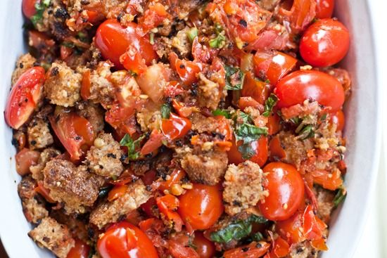 Basil Scalloped Tomatoes and Croutons (could add chickpeas for protein ...