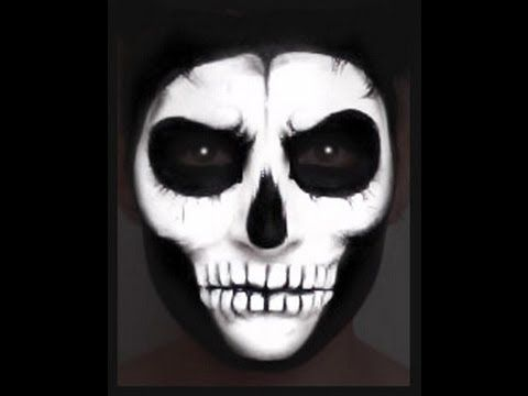 """Skull Face Paint Makeup Tutorial--girl is """"interesting"""" but she's uber talented!"""