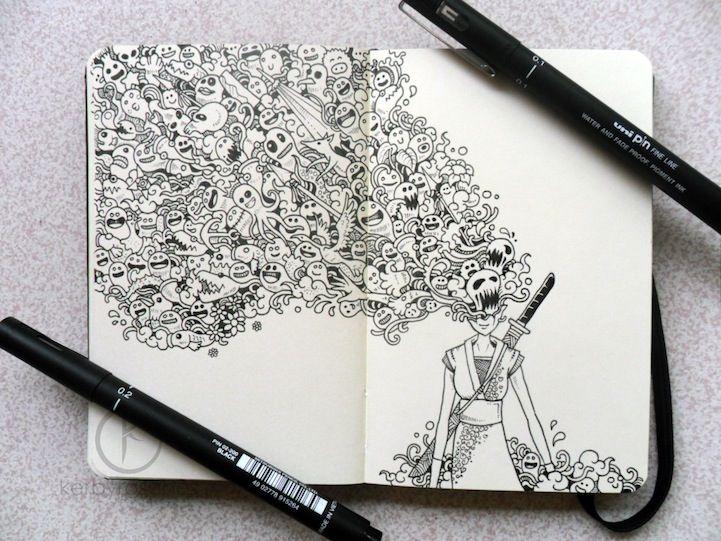 moleskine doodle onna bugeisha