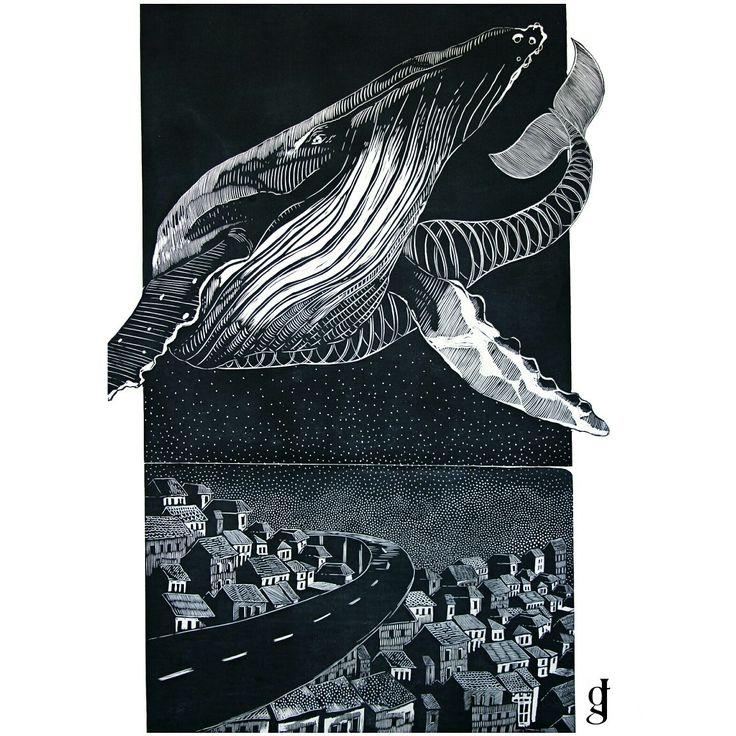 #whale #future #city #graphics #linocut #myproject #artist #art #poland #linoryt #grafika