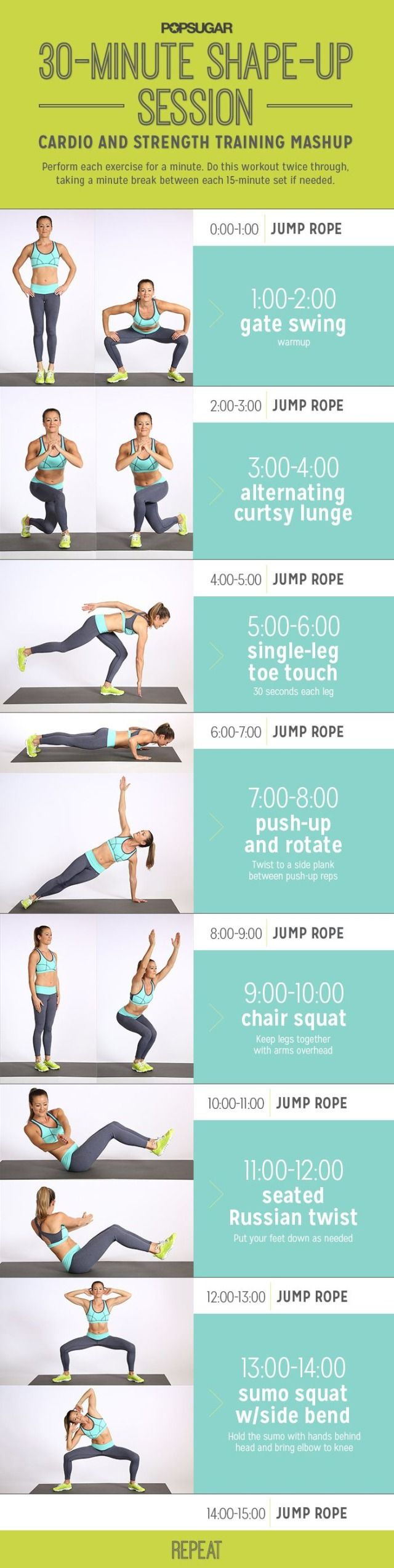 Print out this easy 30-minute step-by-step workout circuit that you can do in the gym or in your home. It focuses on cardio and strength training and will tone your whole bod.