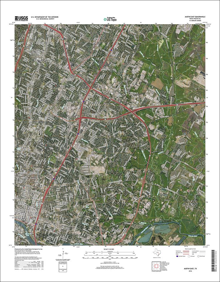 US Topo - maps  Thumbnail image of the 2016 East Austin, Texas 7.5 minute series quadrangle (1:24,000-scale), US Topo map (orthoimage layer on)