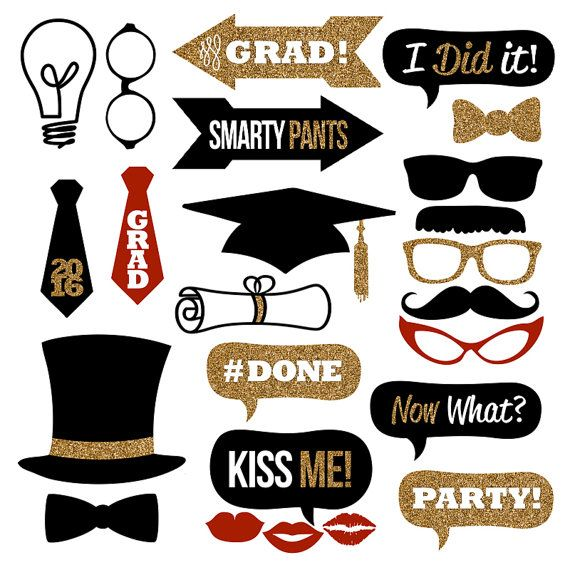 Graduation Photo Booth Props Collection 2016 ? Printable Instant Download ? Black & Gold Glitter Photo Booth Props for Graduation Parties!