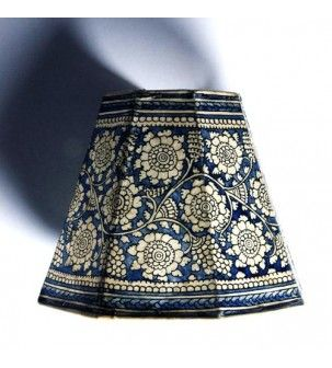 41 best hand painted indian lampshades images on pinterest lamp blue leather lampshade mozeypictures Image collections