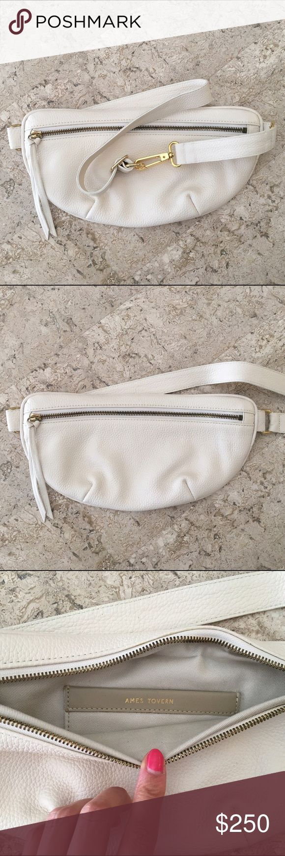 Ames Tovern Hip Bag White leather Ames Tovern fanny pack hip bag. Gold hardware and cream interior. Brand new never used. Comes with original dust bag. Fits anywhere from size 0-16. Ames Tovern Bags
