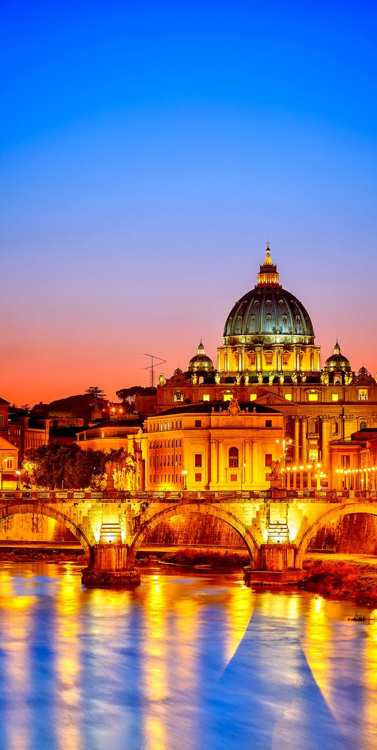 Amazing Night View of St. Peter's cathedral in Rome, Italy