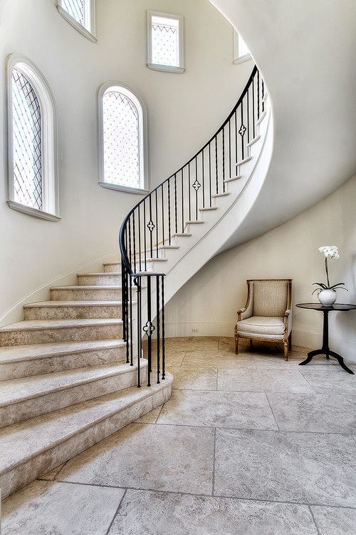Curved Stone Staircase, Leaded Windows ~ Parker House Home Builders, Houston .