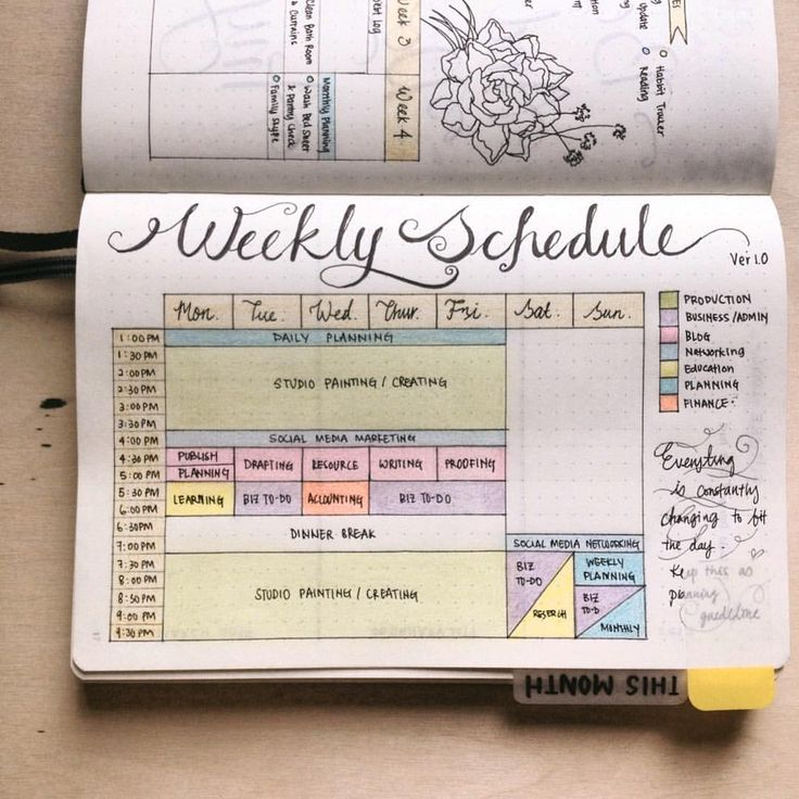 週日畫室行程表,方便我規劃每日的流程。A page of Weekday Studio Timetable as my basic guideline in planning my day.