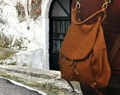 Handmade backpack -purse in New Copper brown stonewashed canvas with leather details, named Daphne , MADE TO ORDER