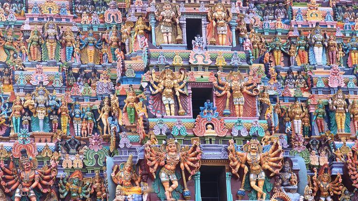 Dettaglio gopuram del tempio di Meenakashi Amman, Madurai